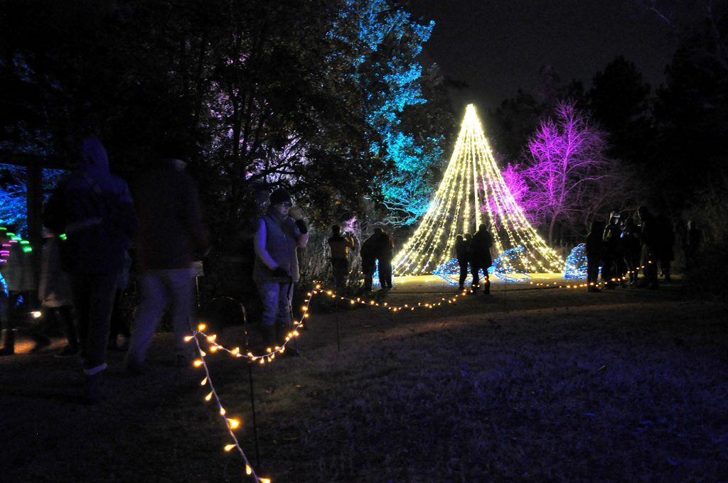 Visitors explore the holiday lights at the Winter in the Garden Holiday Festival.