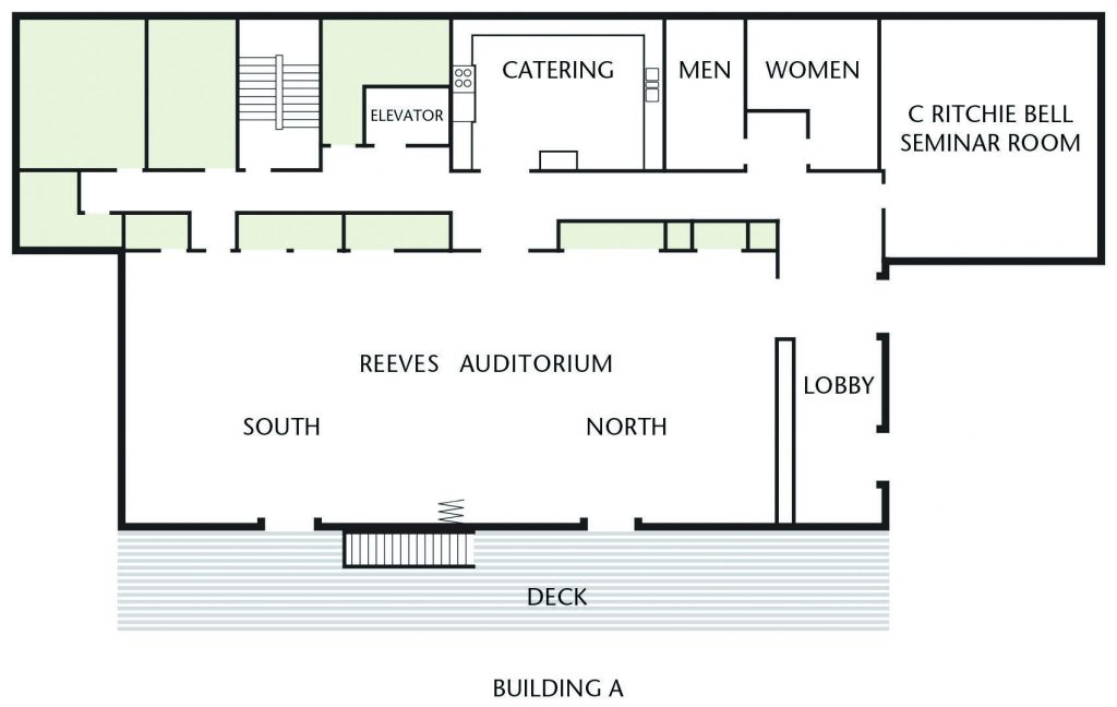 Floorplan of Building A. Reeves Auditorium is the biggest space, with the Bell Seminar room off to the side. There's a covered porch, a catering kitchen, and a men's and women's restroom.