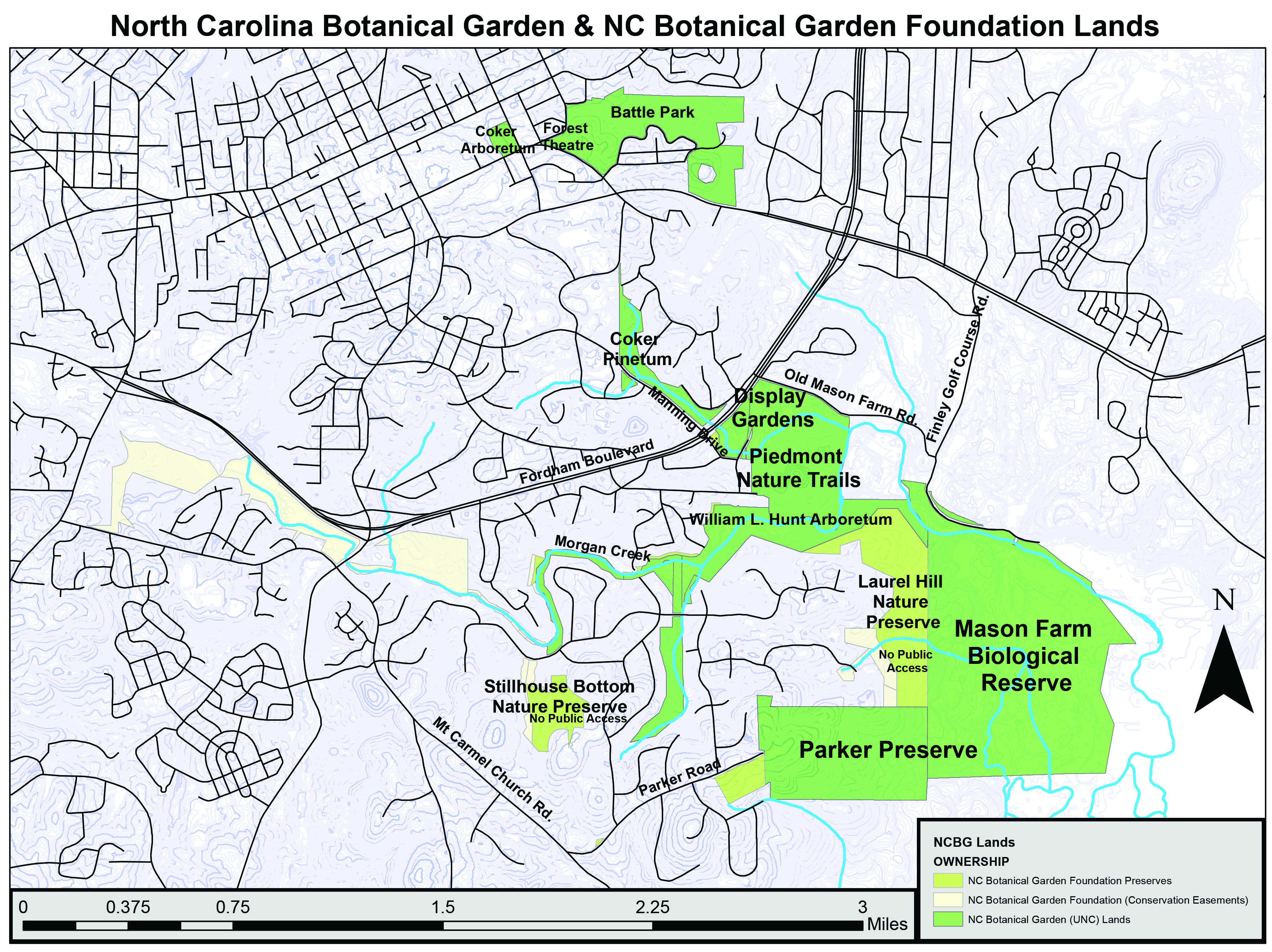 Map of lands in southern Chapel Hill conserved by NCBG and the NCBG Foundation, including our display gardens, Piedmont Nature Trails, Battle Park, Mason Farm Biological Reserve, Parker Preserve, and more.
