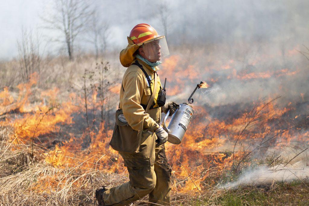 Johnny Randall at a prescribed fire