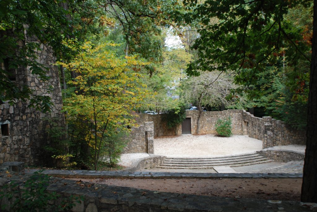 Forest Theatre in autumn, looking down upon the stone stage