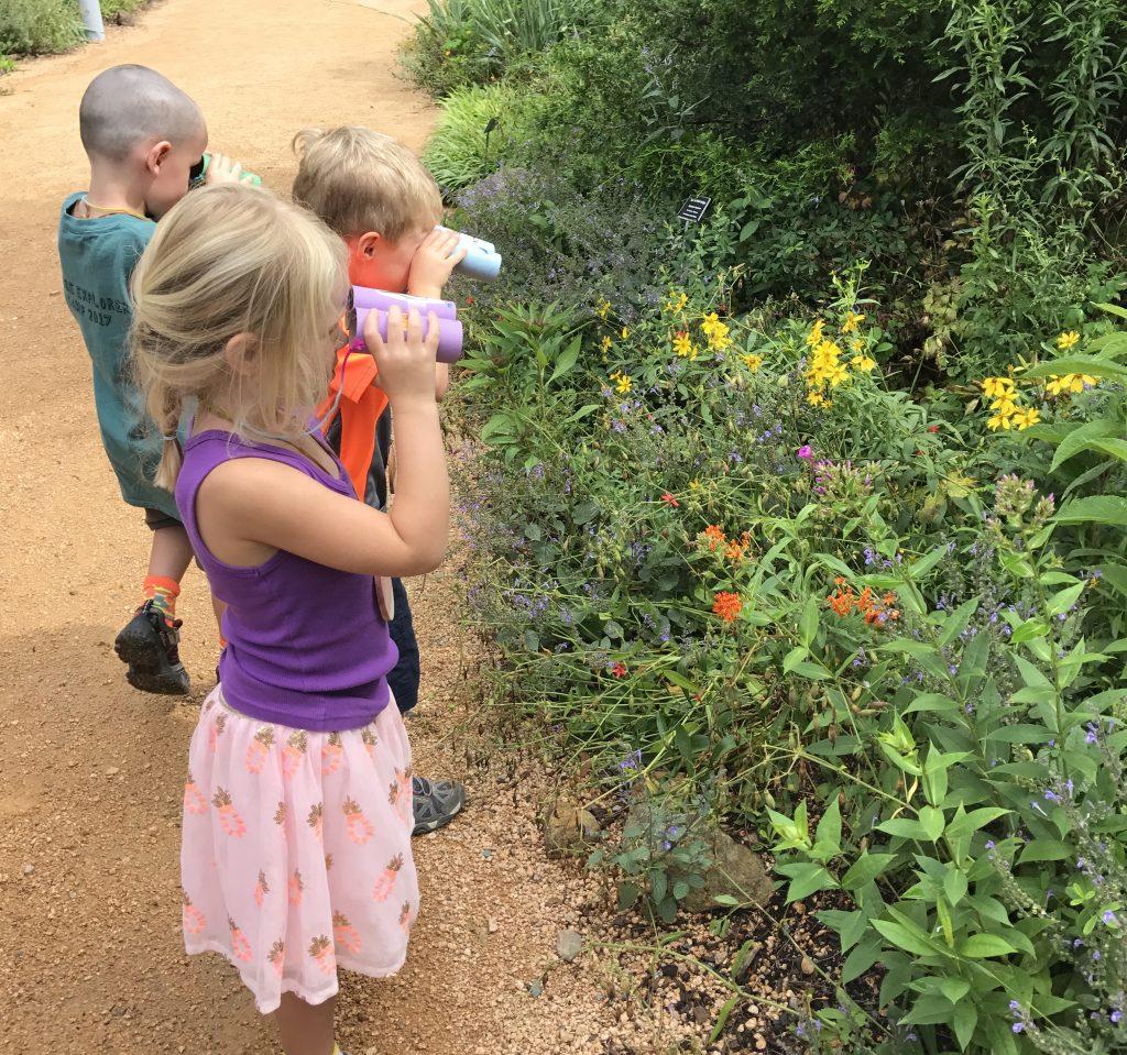 kids looking at flowers with binoculars