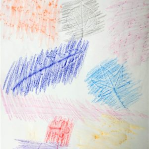 Colorful leaf rubbings with crayon