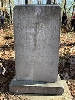 Image of the tombstone for Sallie Mason