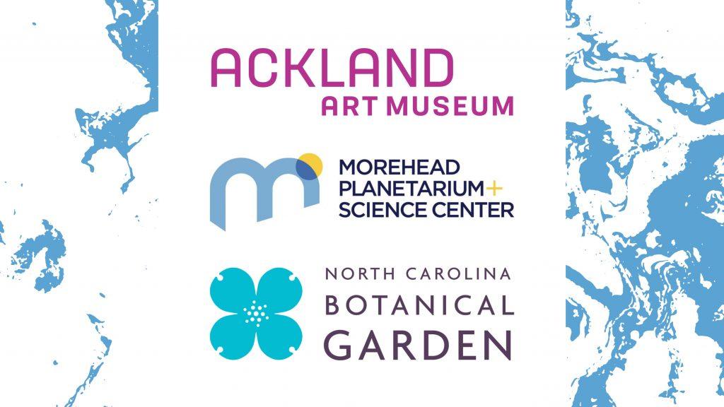 Logos of Ackland Art Museum, Morehead Planetarium and Science Center, and North Carolina Botanical Garden