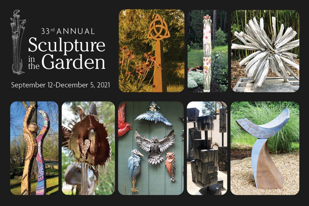 """Postcard reading """"33rd Annual Sculpture in the Garden: September 12 through December 5, 2021."""" Images of different sculptures, some mosaic, some ceramic, some metal, are arranged in rows."""